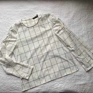 Zara Woman Striped Plaid Blouse
